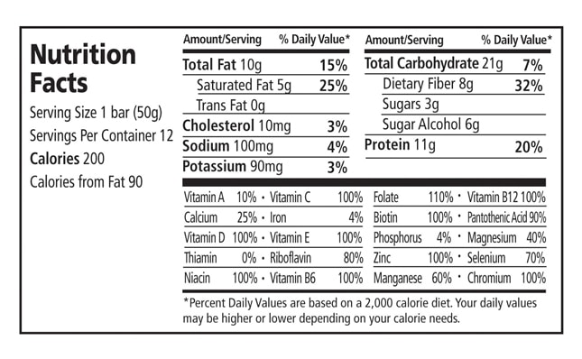 Dark Chocolate Coconut Cashew Nutritional Facts
